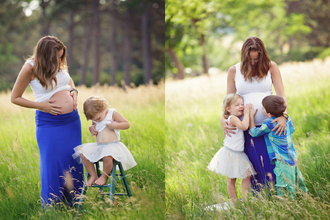 siblings hugging belly maternity session lincoln ne