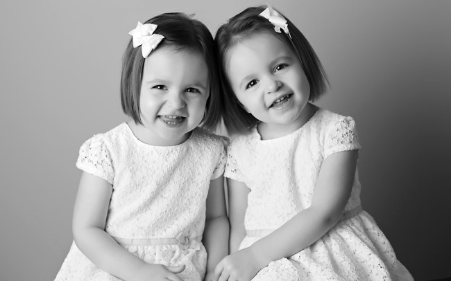 black and white twin idential girls portrait