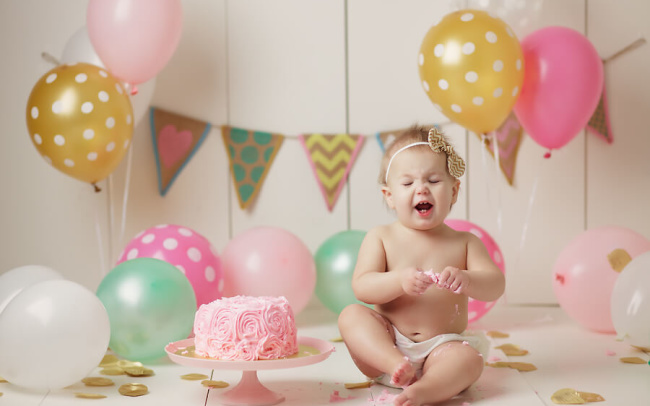 baby girl first birthday cake smash lincoln ne