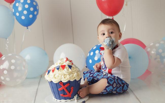 cake smash birth session nautical theme red white blue