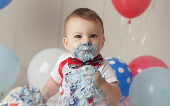 lincoln ne red white blue cake smash birthday session