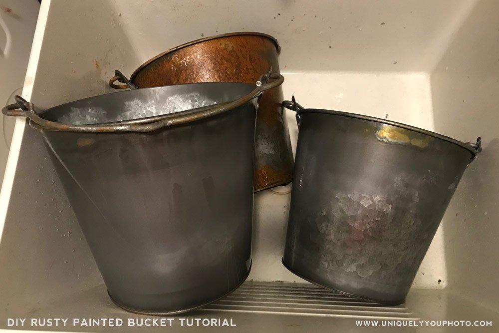 DIY Rusty Painted Bucket Newborn Prop Tutorial